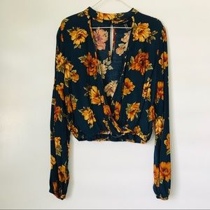 Floral keyhole choker blouse